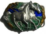 Wild Horses Belt Buckle + display stand. Product code: GA2